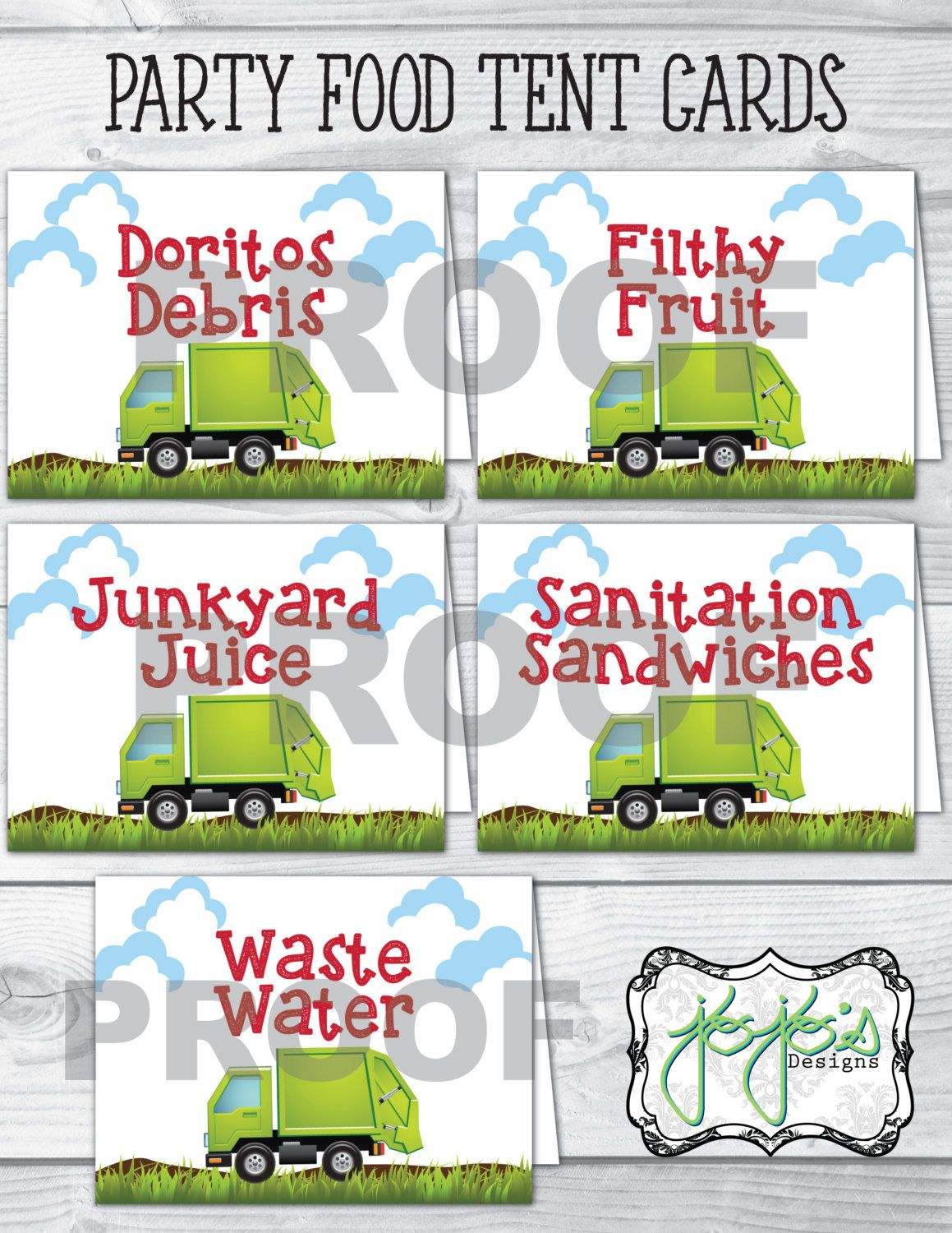 Garbage Truck Birthday Party Food Label Tent Cards, Five Cards ...