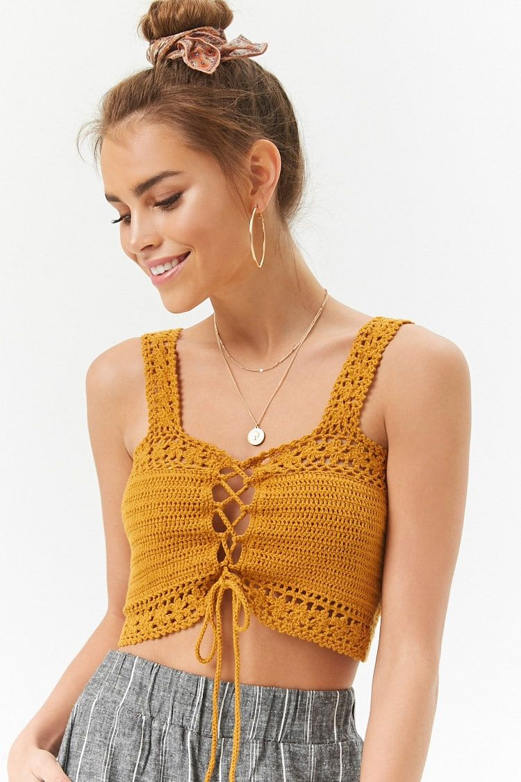 Product Name Crochet Lace Up Crop Top Category Sweater Price 15 9 Crochet Top Pattern Crochet Lace Clothing Crochet Top Outfit