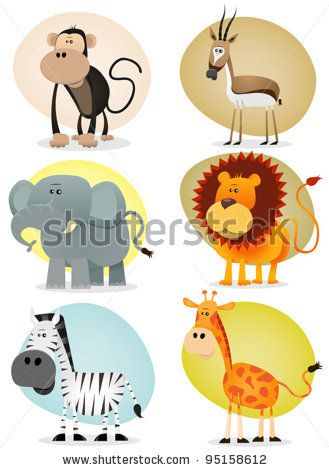 stock vector : African Jungle Animals Collection/ Illustration of a set of cartoon animals from african savannah, including lion,  elephant,giraffe, gazelle, monkey and zebra