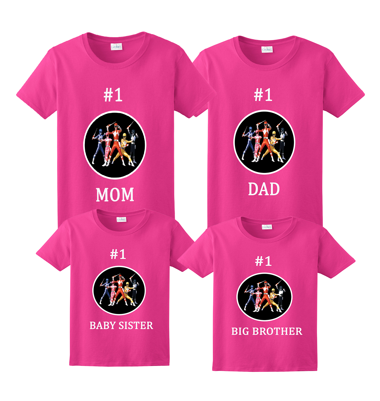 Personalized Power Rangers Birthday Shirt Family Matching Tee Gift T-shirt Party
