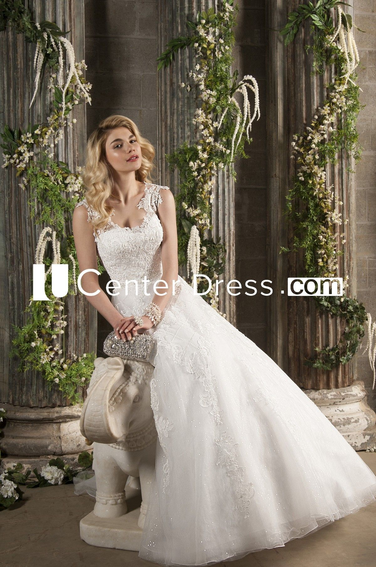 45e2a347613  153.19-Delicate Maxi V-Neck Sleeveless Appliqued Lace Ball Gown Wedding  Dress. http
