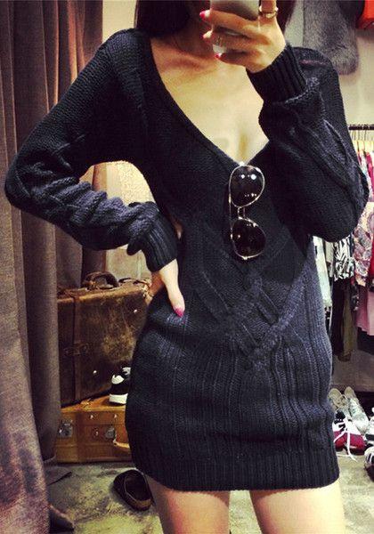 Black Cutout Sweater Dress