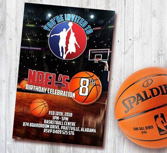 basketball invitation card birthday card basket nba party kids