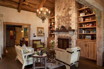 Living Room Bookshelf Vaulted Ceiling Design Ideas Pictures Remodel And Decor Ranch House Home Fireplace Living Room Decor Rustic