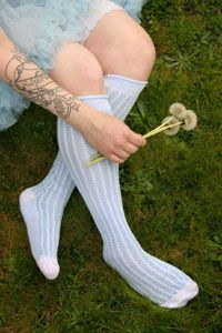 Vertically Inclined Knee Highs in Bluebell