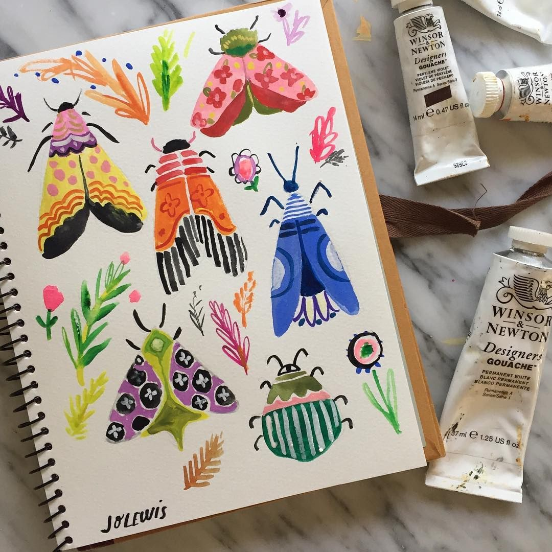 Pattern Bugs. #365daysofpaint #sketchbooks #insects #patterndesign #gouachepainting