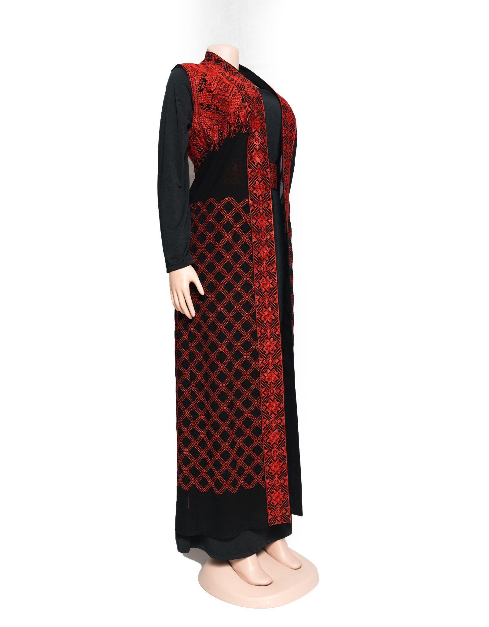 81637f26fb Black and red embroidered maxi sleeveless jacket abaya | Falastini Brand