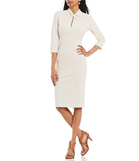Donna Morgan Womens Knotted Crepe Sheath Dress