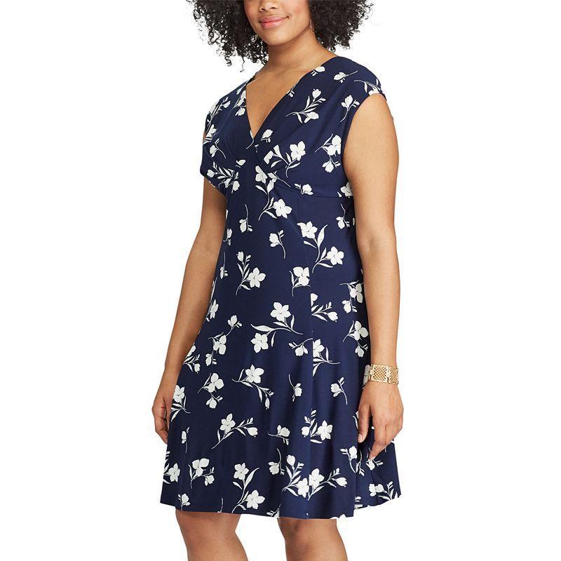9fdeb5c2f8e Plus Size Chaps Floral Surplice Empire Dress