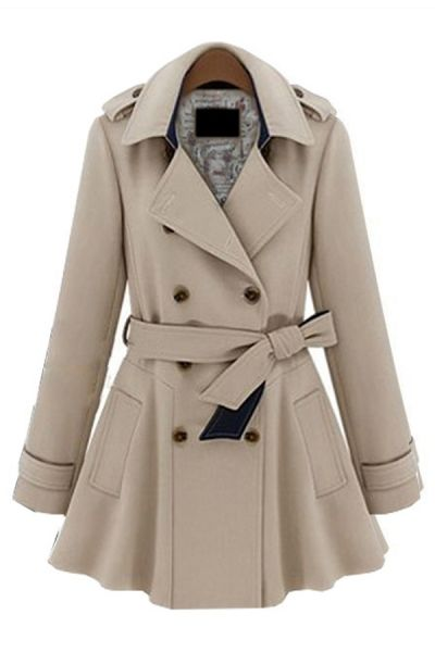 Double Breasted Lapel Collar Belted Coat