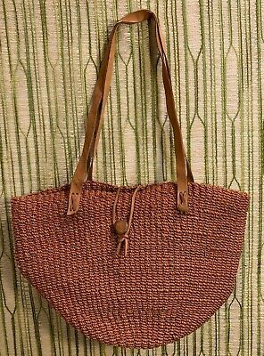 Vintage Orange/Brown/Tan/Rust Sisal Bag/Purse w/ Leather Straps  #fashion #clothing #shoes #accessories #women #womensbagshandbags (ebay link)