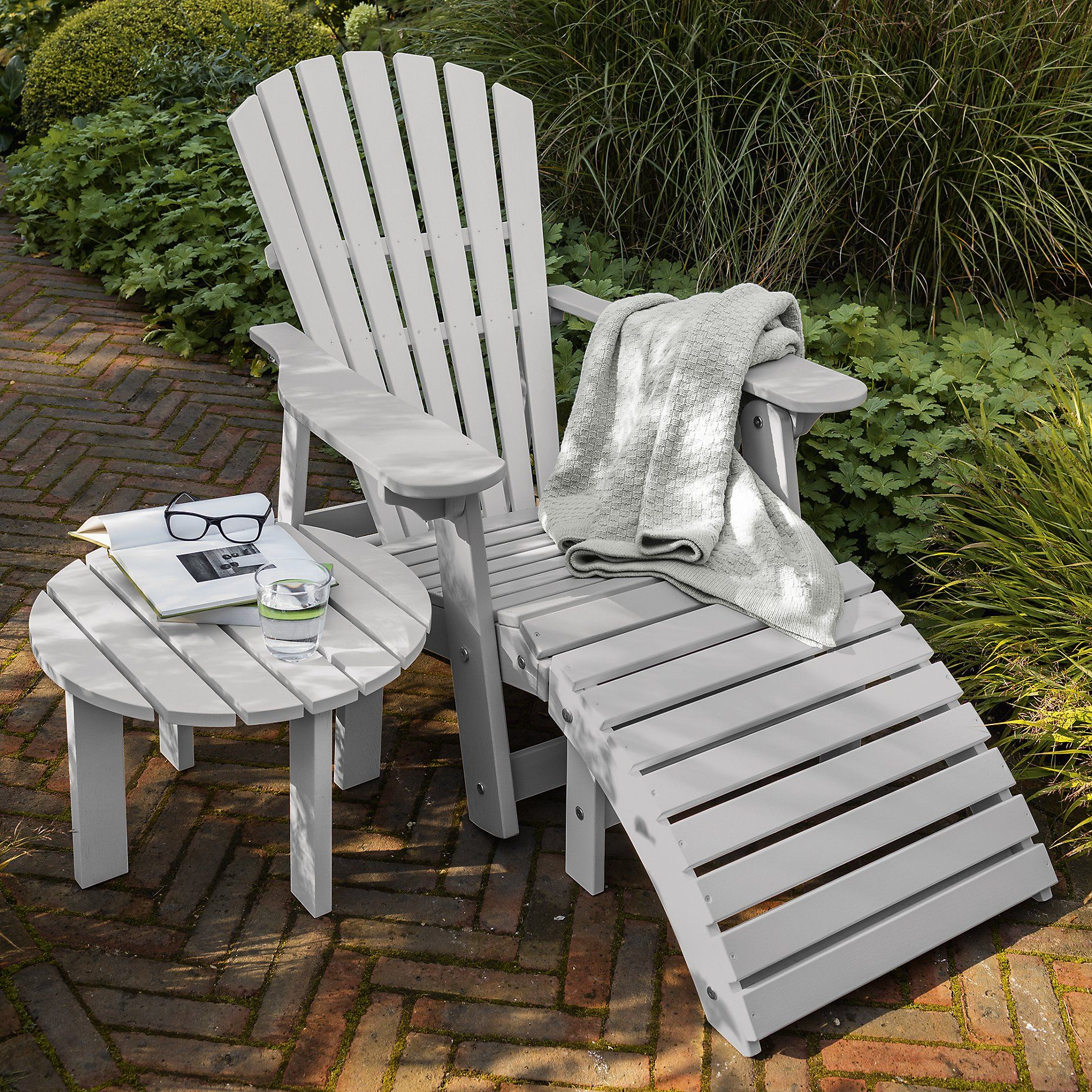 Exceptionnel Adirondack Chair And Foot Stool   Grey From The White Company