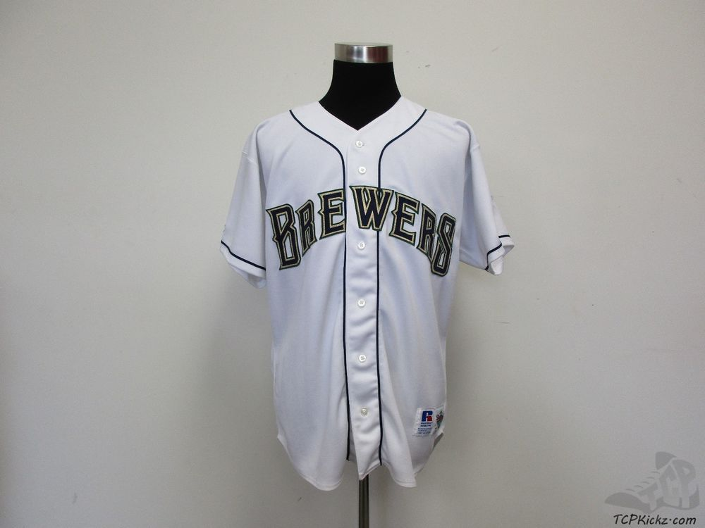 57db4630eae Vtg 90s Russell Diamond Collection Milwaukee Brewers Button Up Jersey sz 48  MLB  Russell  MilwaukeeBrewers