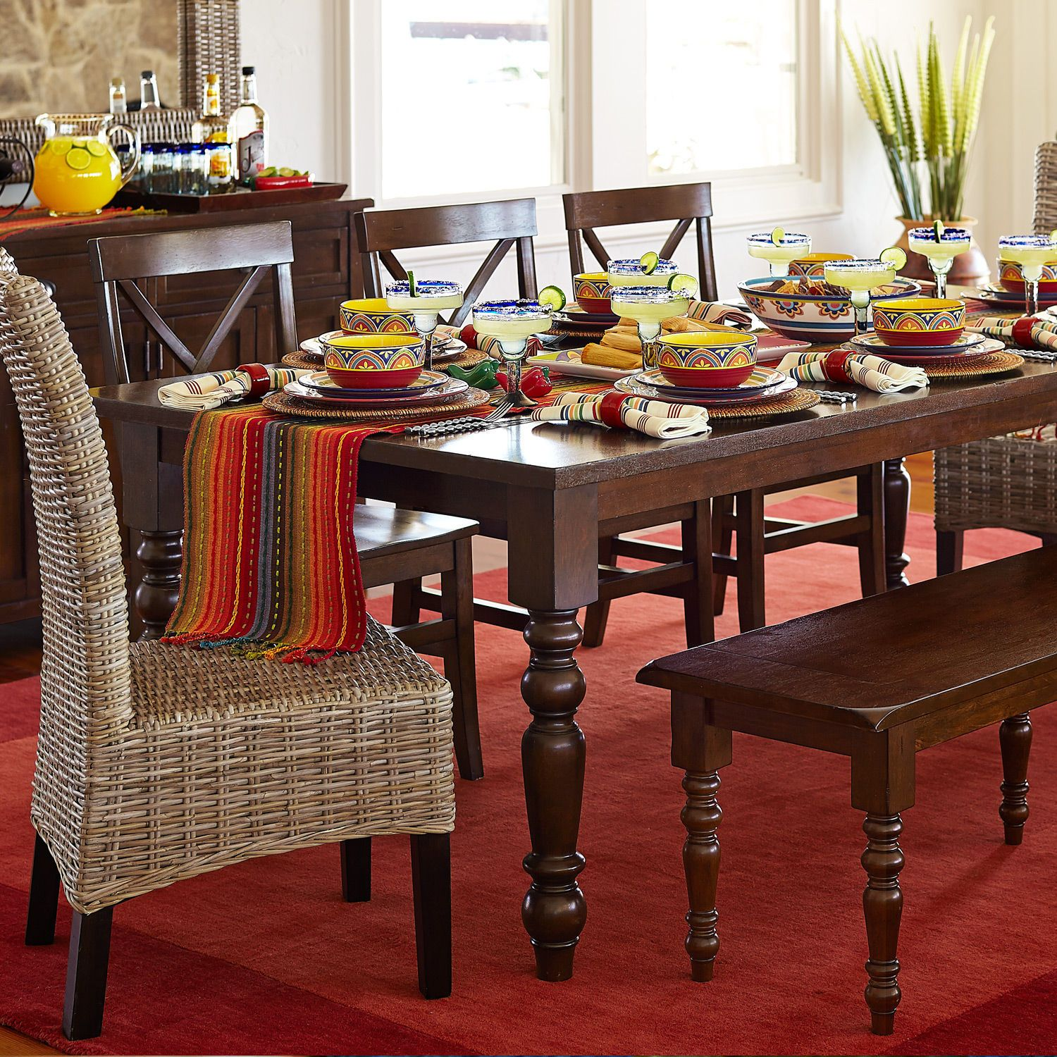 Torrance Turned Leg Table Mahogany Brown Dining Room Furniture Dining Room Sets Rattan Dining Chairs #pier #one #living #room #tables