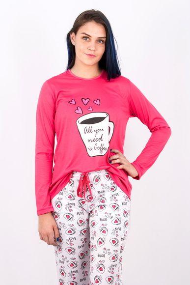 3dc331d63 Pijama Feminino Longo Coffee Lovers - Inverno 2017 Blusa de Manga Comprida   Composição  Poliester