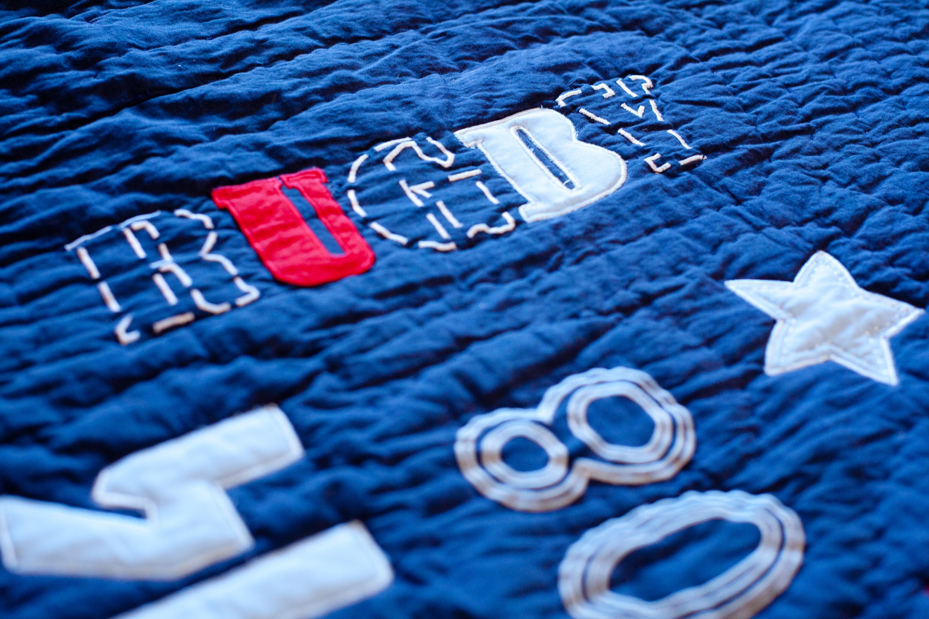 Rugby Motifs On Sports Quilt Sports Quilts Red And Blue