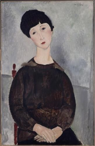 Young brunette girl sitting - Amedeo Modigliani