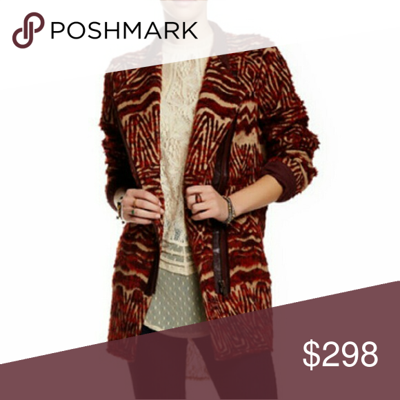 """NWT Free People Faux Fur coat. Gorgeous asymmetrical zip up burgundy and tan faux fur coat. 33"""" length.  Materials Exterior: 35% polyester 29% cotton 22% wool 14% acrylic  Lining: 100% rayon. Free People Jackets & Coats"""