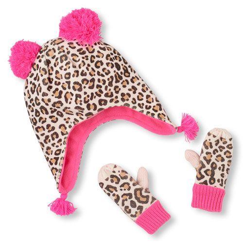 8b44118b1b1dd Baby Girls Toddler Leopard Print Pom Pom Hat And Mittens Set - Tan - The  Children's Place