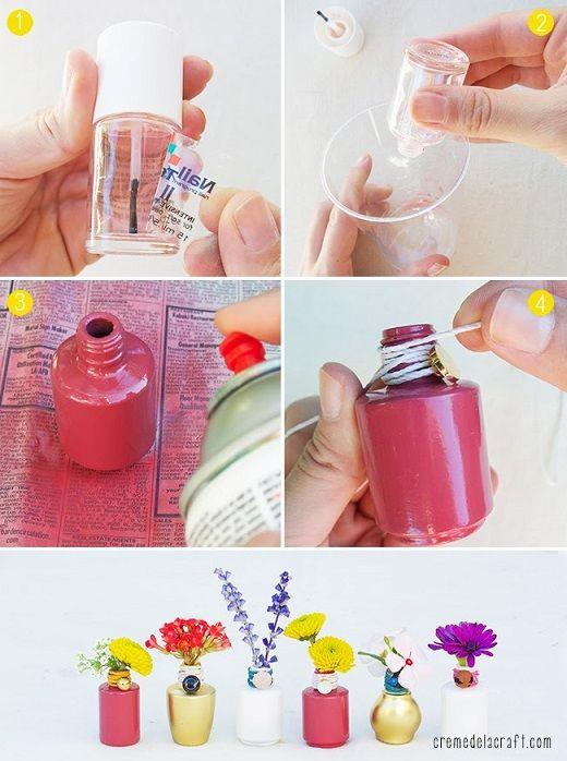 Como hacer macetas con frascos de pintauñas (2)
