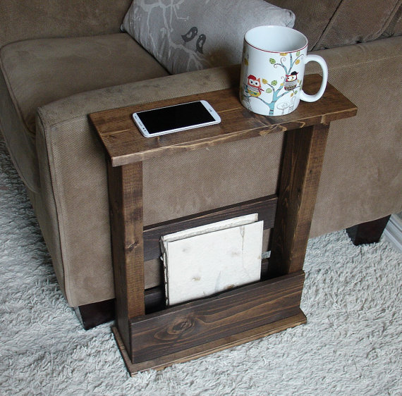 Sofa Chair Arm Rest Table Stand With Storage Pocket For Magazines Remotes Arm Rest Table Diy Sofa Table Sofa Arm Table