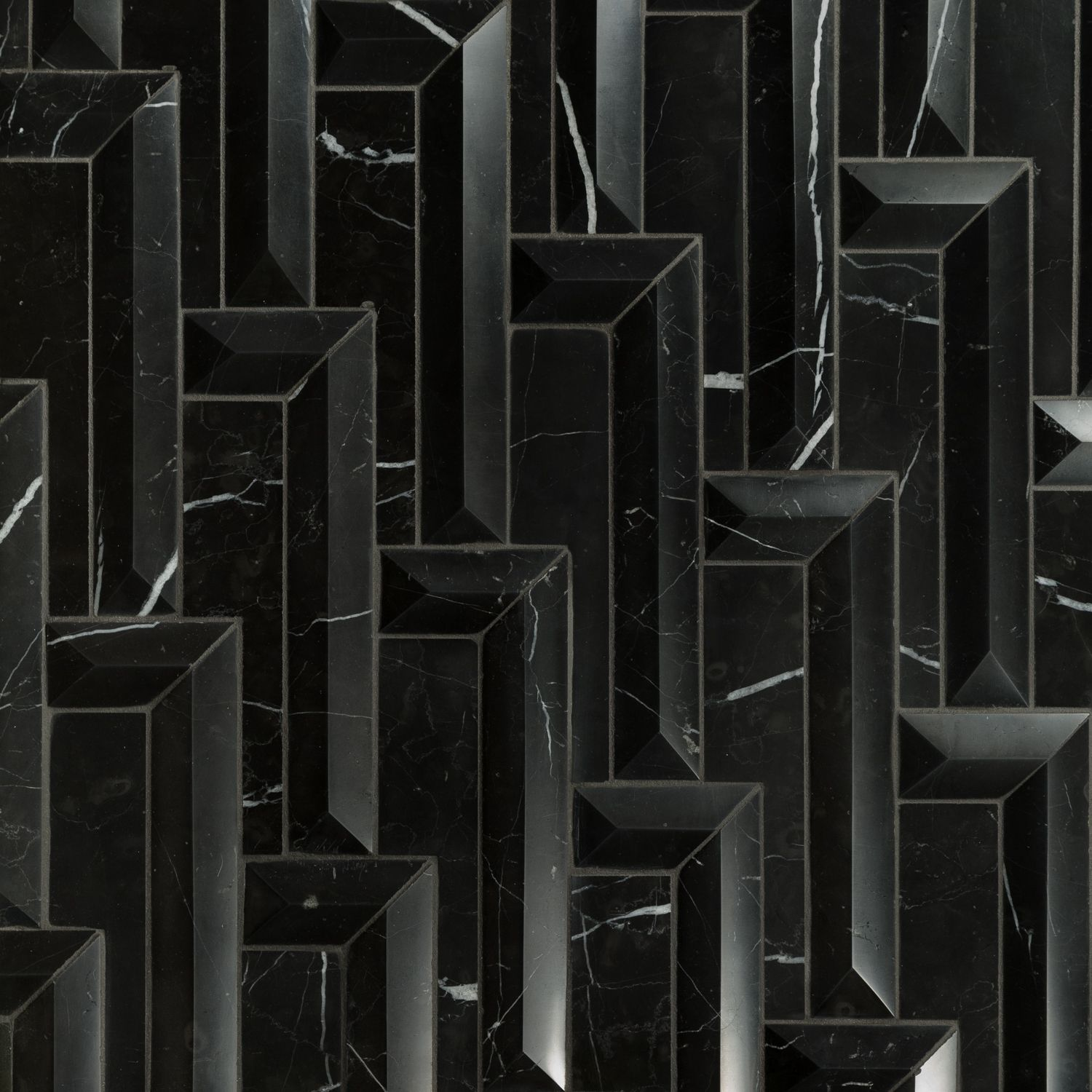 artistic tile - nero marquina steps dimensional waterjet | 3d