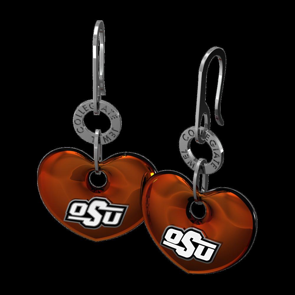 Engagement Rings Okc: Sterling Silver Heart Dangle Earrings With Orange Enamel