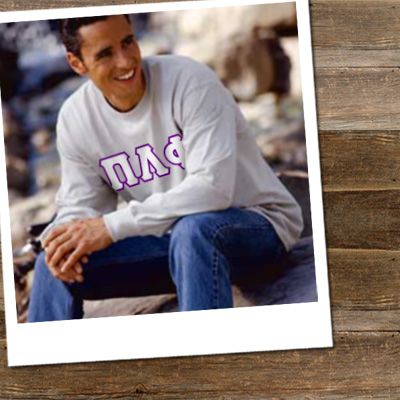 a515df68 Fraternity Long Sleeve T-Shirt with Twill - Gildan 2400 - TWILL ...