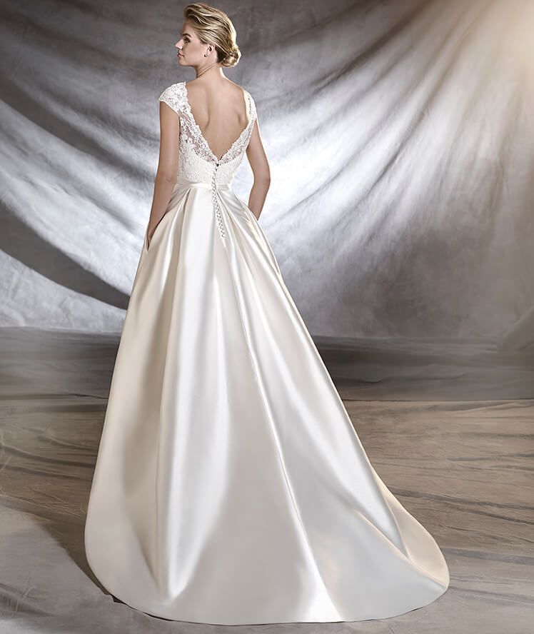 Mikado Wedding Gown: Wedding Dress In Mikado, Tulle And Lace