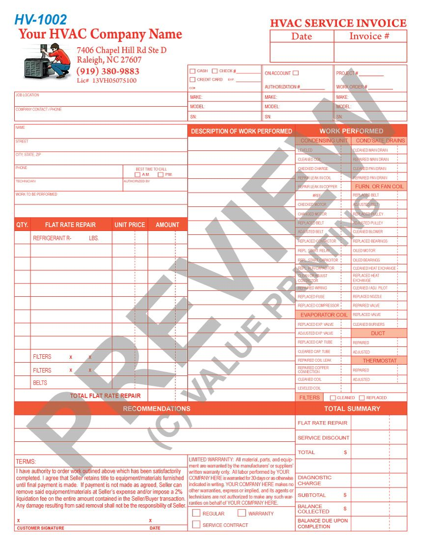 This Hvac Flat Rate Invoice Has Space For  Units Serviced Along