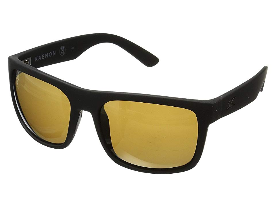 9b033b837e56 Kaenon Burnet Xl (Black Matte Grip Brown 12-Polarized Gold Mirror) Sport  Sunglasses