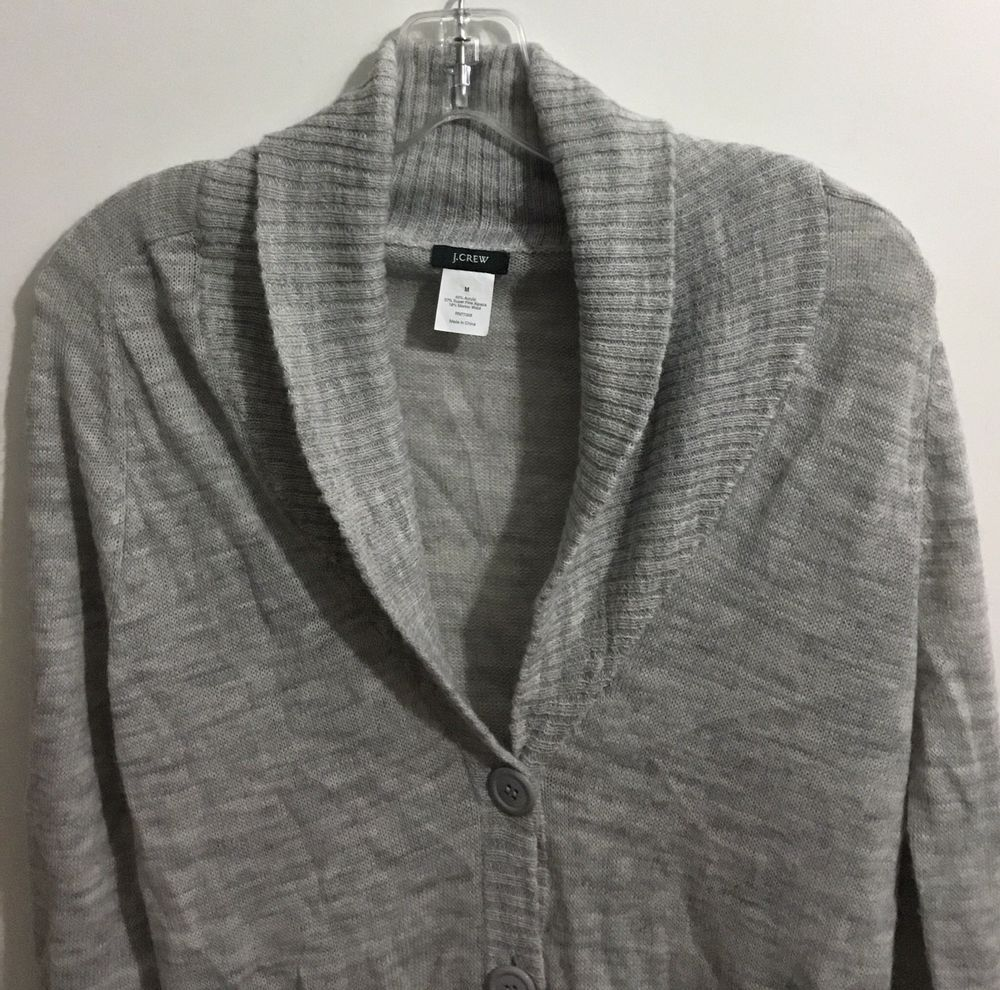 J.Crew Womens Merino Alpaca Acrylic Blend Long Sleeve Sweater Gray Sz M   JCREW  Cardigan 1a58eff8a