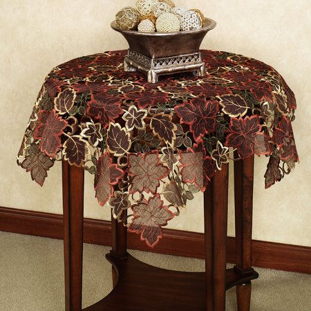 Autumn Leaves Cutwork Table Topper
