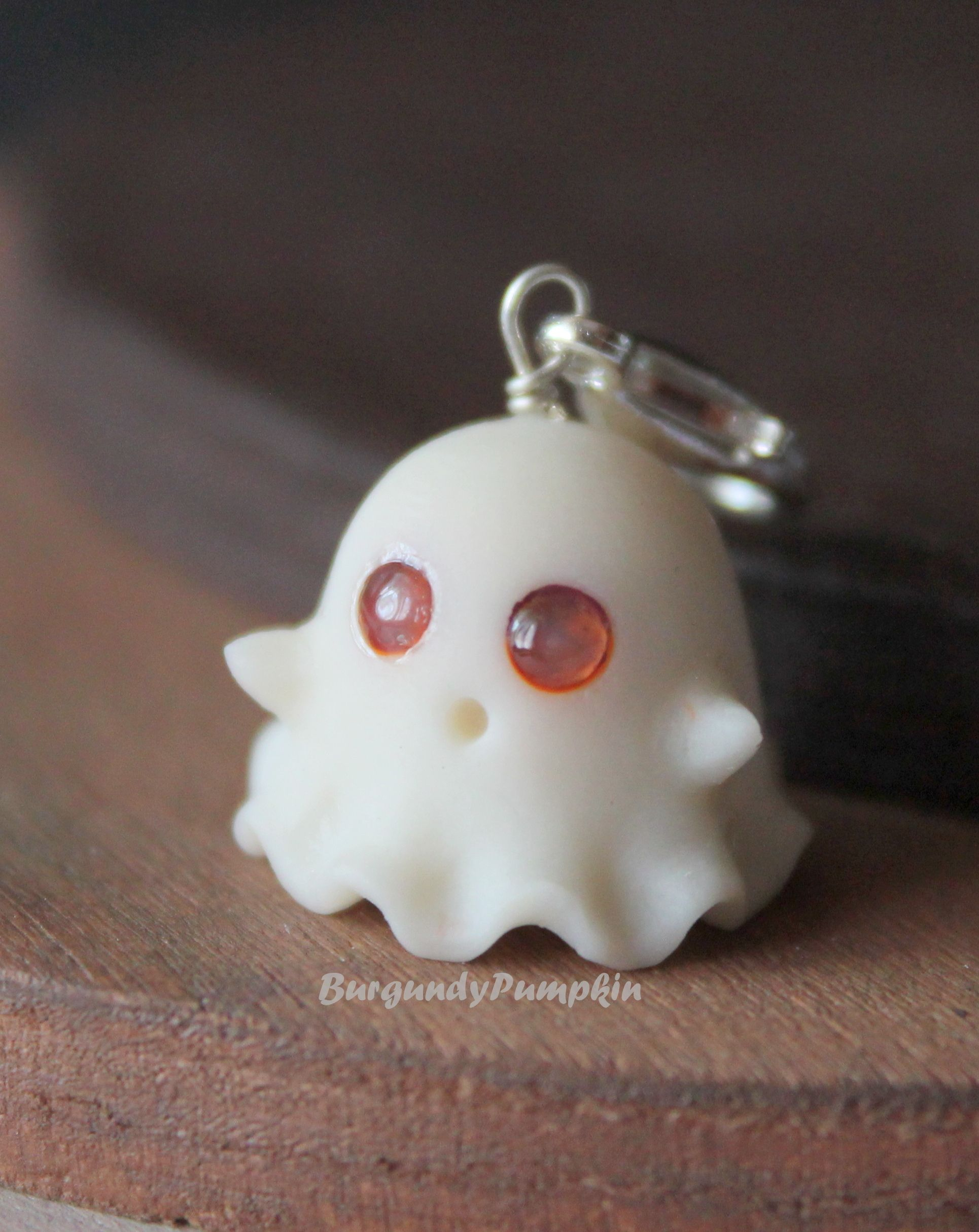 Photo of CUSTOM EYE COLOR Glow in the dark ghost charm, handmade with polymer clay christmas clay charms halloween accessories halloween keychains