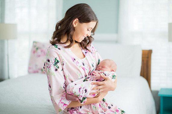 4 Pc Set Amelia Floral Maternity Delivery Labor Nursing Robe