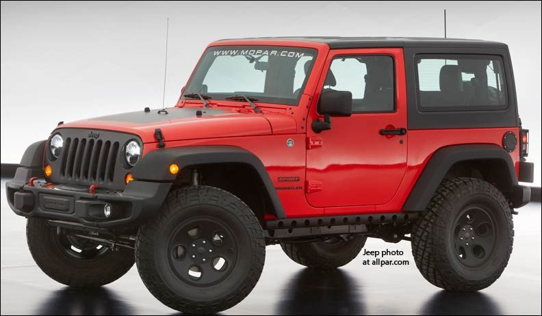 52f8fe70647 The Jeep Wrangler Slim sports lightweight rock rails, black grille, black  hood decal, LED headlights, locking gas cap and Rubicon tires.