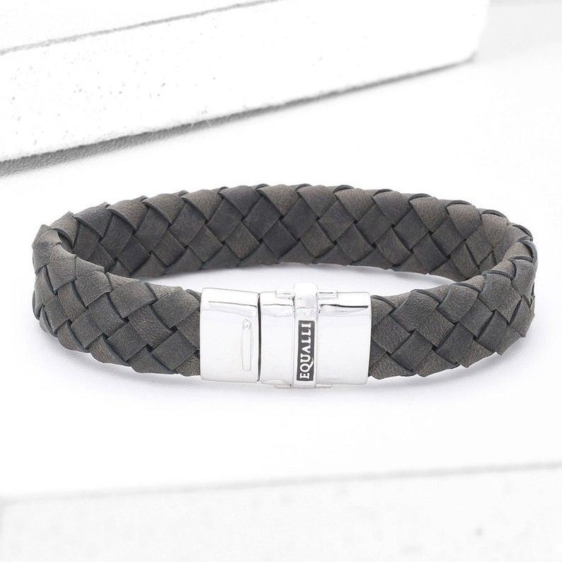 Victor Leather Bracelet in Grey SKU: BR2071-GREY #area51partyoutfit