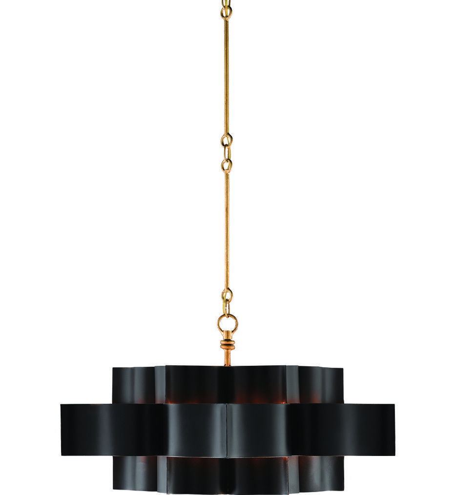 Currey & Company - 9000-0429 Grand Lotus Satin Black/Contemporary Gold Leaf 30 Inch Chandelier