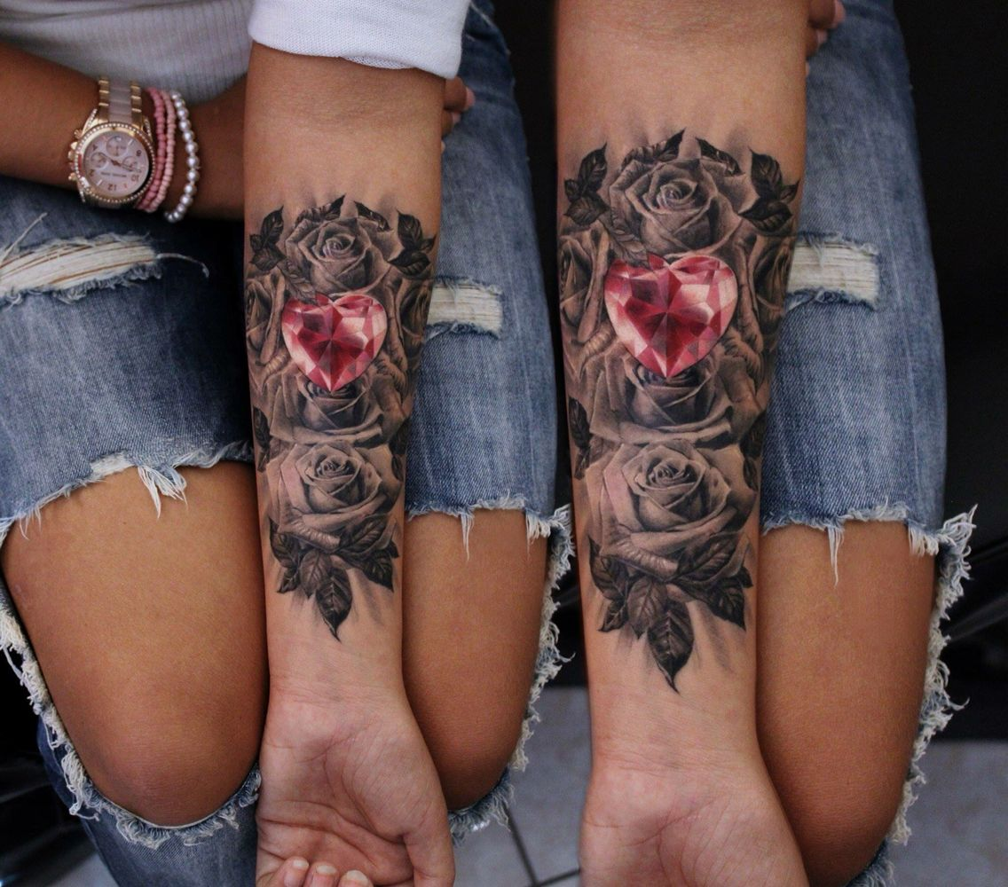 Pink gem heart with roses | Tattoos | Pinterest