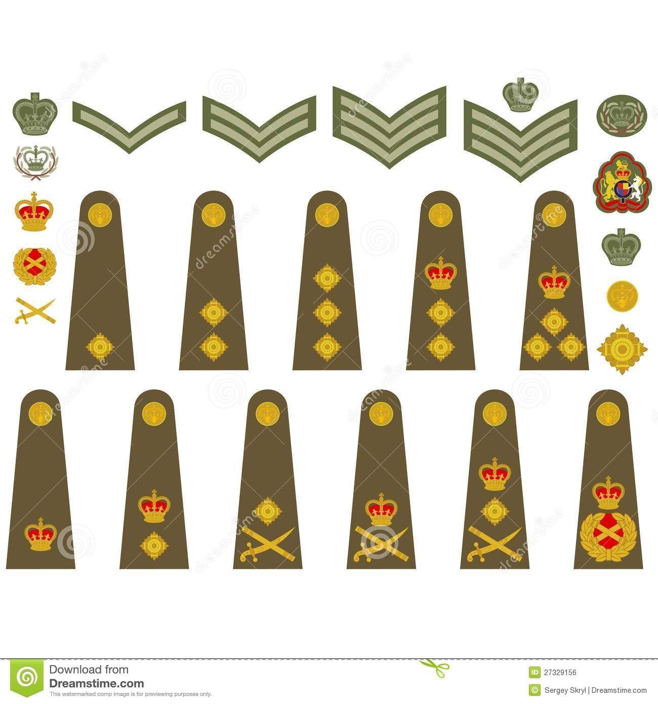 British military insignia badges recherche google grades epaulets military ranks and insignia illustration on white background biocorpaavc Images