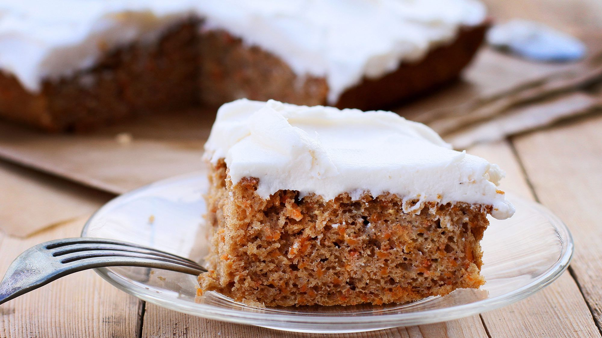 Carrot cake with vanilla cream cheese frosting in 2019