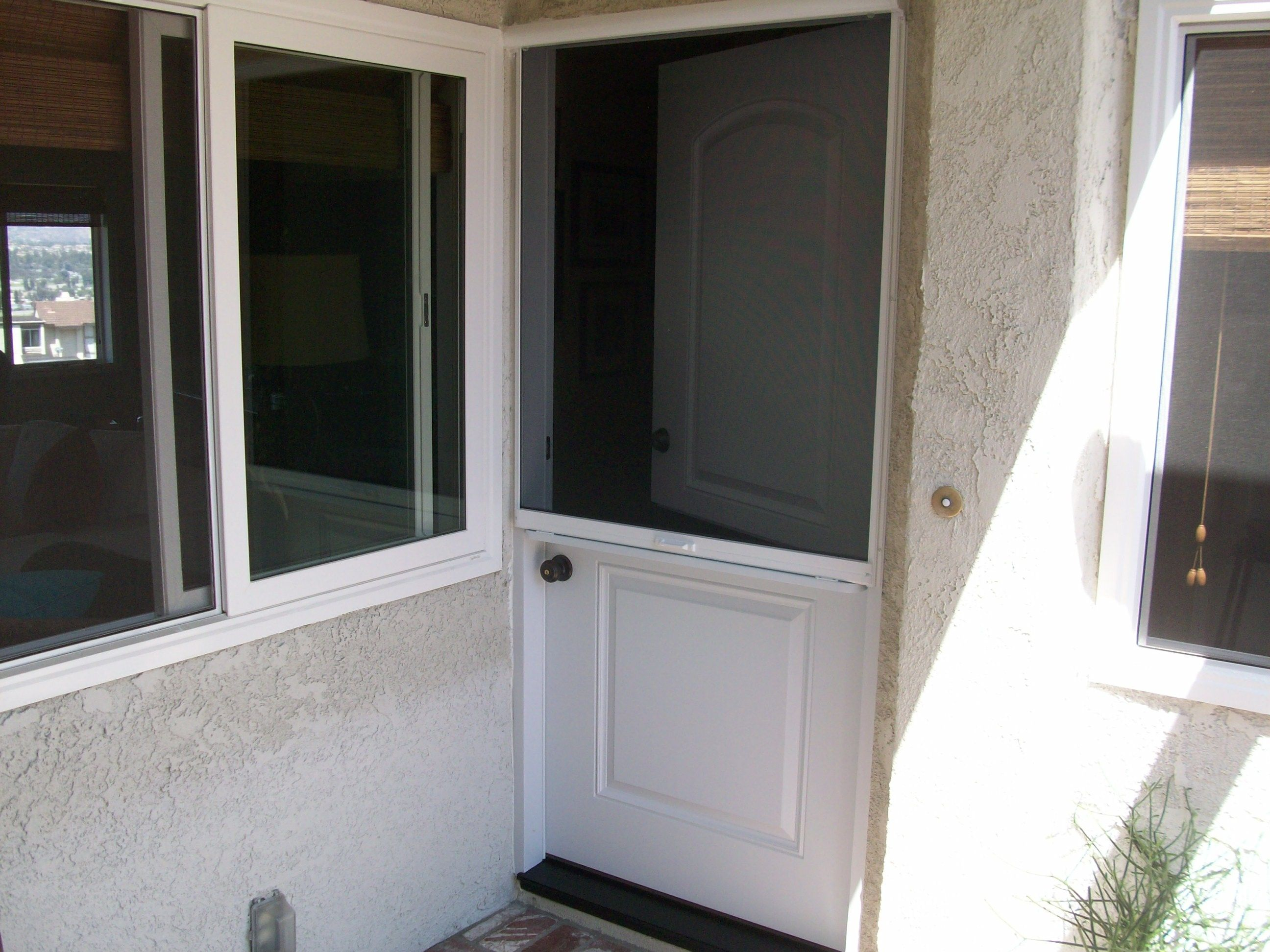 Top down hide a screen on a Dutch door See the pull down screen  let the breeze in and keep the bugs out  . Dutch Doors Exterior With Screen. Home Design Ideas