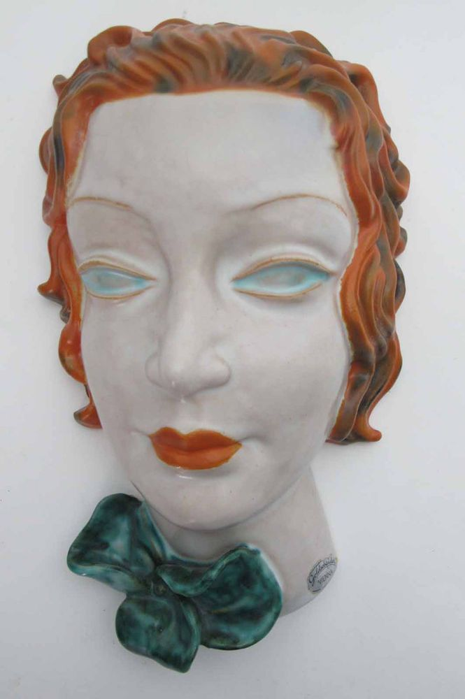 Art Deco Hand Painted Goldscheider Face Wall Mask Original Label NR yqz