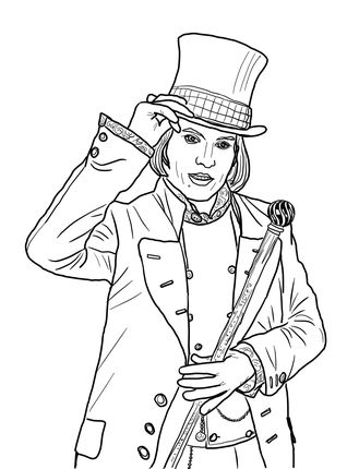willy wonka coloring pages Click Willy Wonka with Johnny Depp Coloring page for printable  willy wonka coloring pages