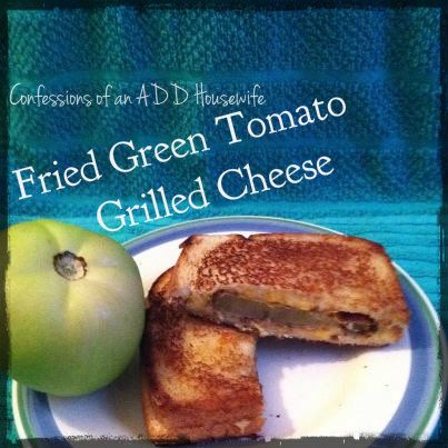 Bountiful Basket Ideas - I definitely didn't even really know green tomatoes existed : ) I've heard of the movie but didn't know it was a real thing. I think we'll make these for lunch! Confessions of an ADD Housewife: Fried Green Tomatoes Grilled Cheese