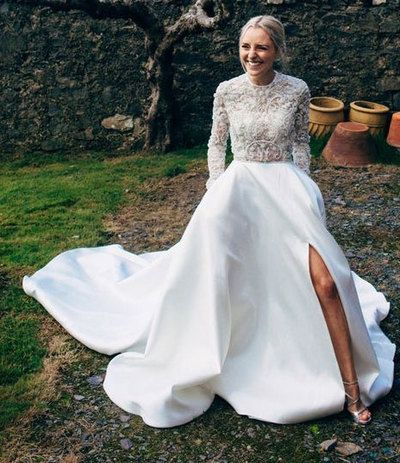 white long wedding dress with long sleeves appiques flowers from