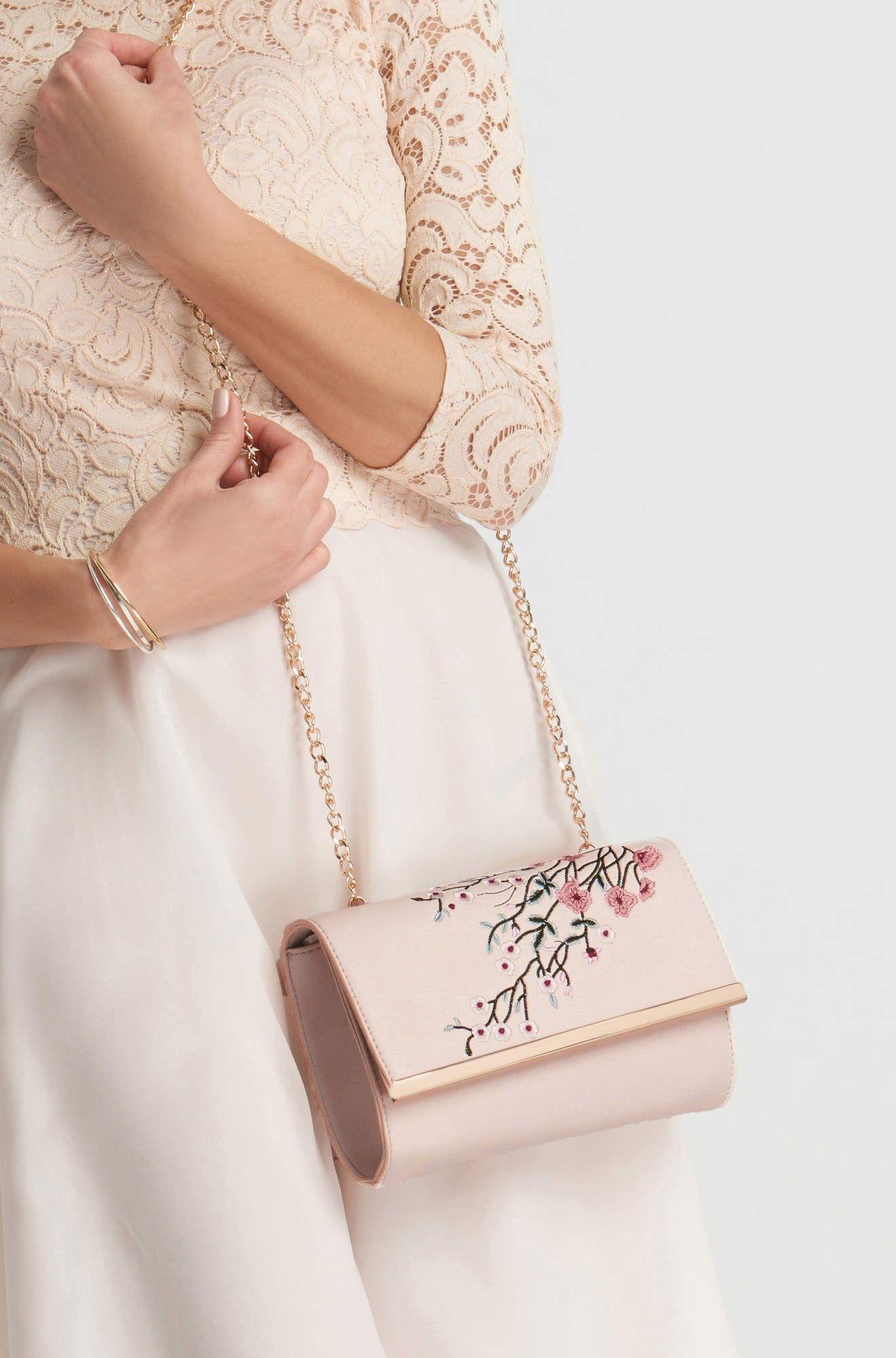 Torebka kopertówka z kwiatowym haftem Fashion, Kate