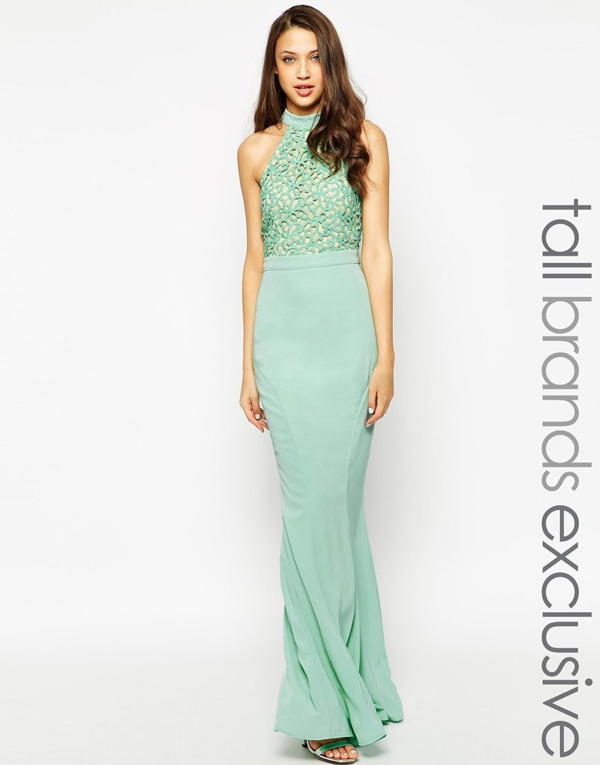 Jarlo tall caden lace detail halter neck maxi dress wifethat