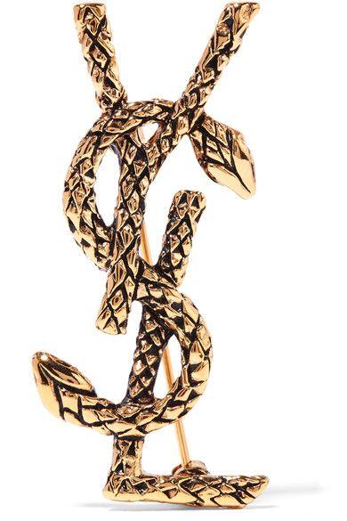 aa23da6c757b9b SAINT LAURENT Gold-Tone Brooch. #saintlaurent #jewelry | Saint ...