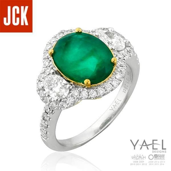 """""""Oscar winner Halle Berry got hitched in an emerald ring and so do many others who love the complexity of color and inclusions that emeralds can provide."""" - Jennifer Heebner JCK Publishing Group #emeraldring #engagementring #yaeldesigns"""